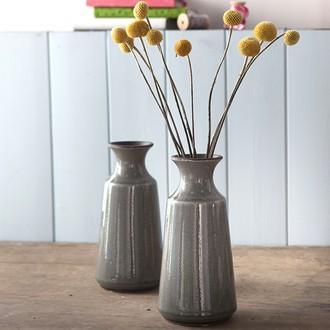 Vase céramique col evasé vert foncé ø10,5xh21,5cm