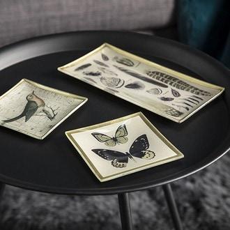 Coupelle en verre oiseau/papillon gris et doré 10,2x10,2cm