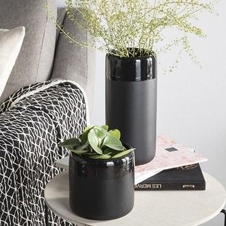 Vase céramique mate et brillante noir ø12xh25cm