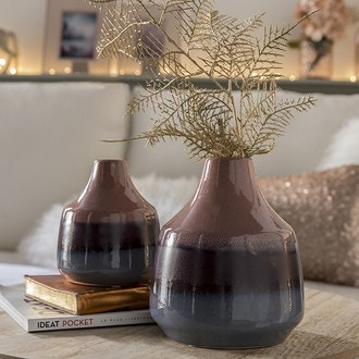 Vase en grès rose/prune/bleu ø14xh16,5cm