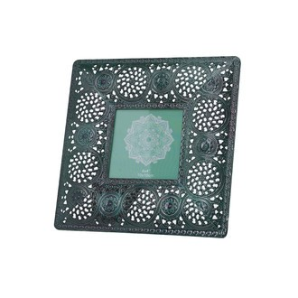 Cadre photo à poser 10x10 macramé métal vert