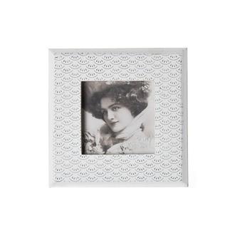 Cadre photo à poser 1 vue 10x10 écailles blanches