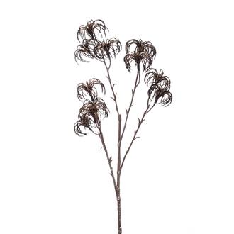 Tige artificielle de clématite ramifiée bronze 64cm
