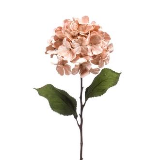Tige artificielle d'hortensia velouré rose 75cm