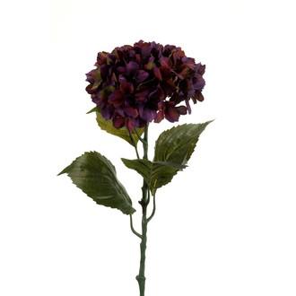 Tige artificielle d'hortensia pourpre 80cm