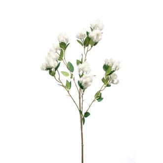 Branche artificielle de peuplier fleuri ramifié crème 65cm