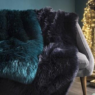 Zodio- plaid fausse fourrure indis bleu nuit 125x150cm