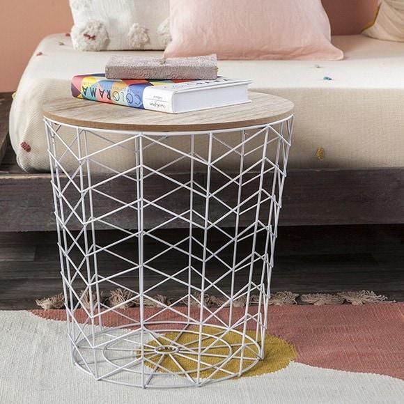 Table filaire bois et métal motif chevron blanc d38.5xh40cm