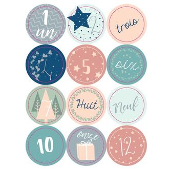 24 stickers chiffres rond scandinave 4cm