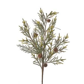 Branche de sapin artificiel ramifié avec petites pommes de pin 80cm