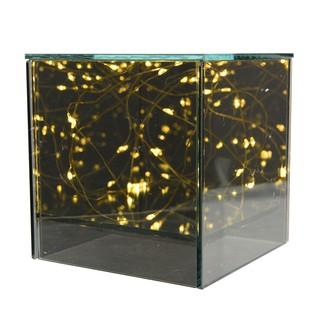 Cube en verre fumé lumineux à piles 16x16xh17cm