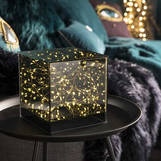 Cube en verre fumé lumineux à piles 12x12xh13cm