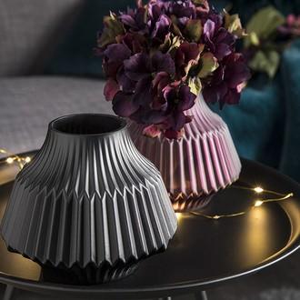 Vase en verre opaque noir mat stripes d16xh13cm