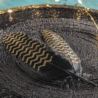 6 plumes noires chevron or 16 - 18 cm