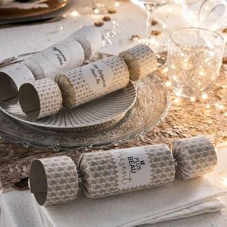 6 petits crackers festifs beige