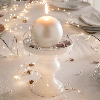 Chandelier blanc rond en grès d14,5 14,5x14,5xh14,5