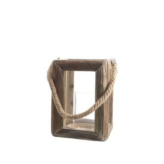 Lanterne ouverte en chêne avec anse en corde h18x18x24