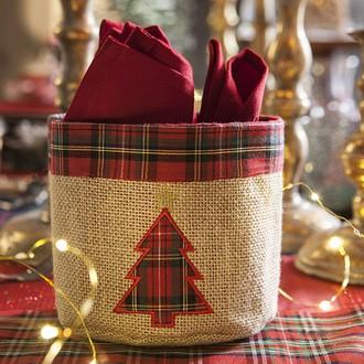 Panier à pain en jute décor écossais 14x22cm