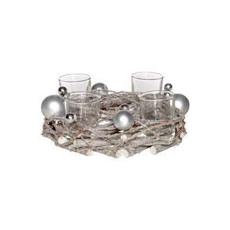 Bougeoir couronne 4 verres branches neige  argent rond bois 22cm