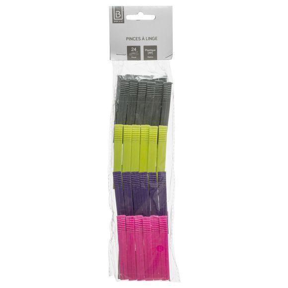 Pinces a linge pm 4 couleurs x24