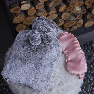 Bouillotte 2L fourrure grise + masque