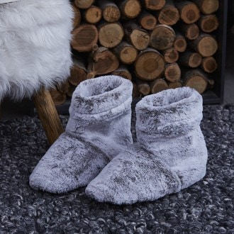 Chausson chauffant fourrure grise