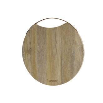 Planche à découper ronde avec anse inox bois de manguier, 38cm
