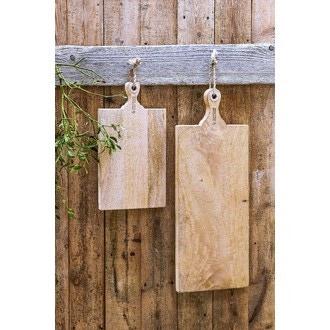 Planche à découper en bois avec poignée corde 48x27cm