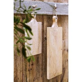 Planche à découper en bois manguier, poignée avec oeuillet et corde, 48x27cm
