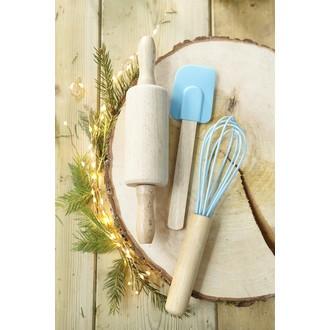 Spatule pour enfant avec manche en bois et silicone bleu