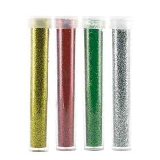 4 tubes paillettes or - argent - rouge - vert