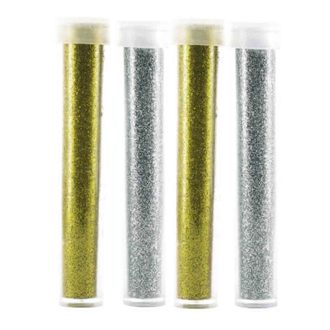 4 tubes paillettes argent - or