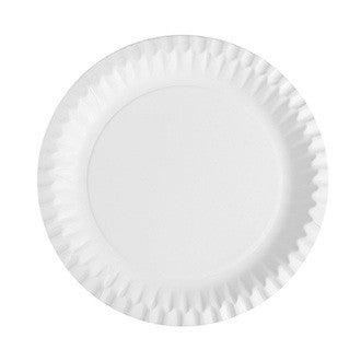 50 assiettes en carton rondes blanches 23cm