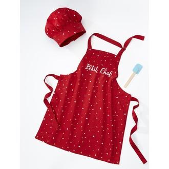 Tablier de cuisine pour enfant Petit Chef rouge 55x65cm