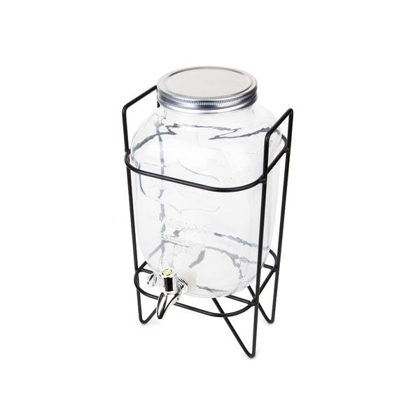 Fontaine à boisson en verre 3,7L avec support filaire noir