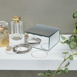 Boite à bijoux miroir pailleté doré 19x14,5x11,8cm