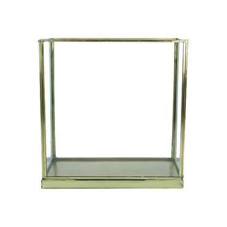 Terrarium en verre et métal doré vieilli 20x10xh20cm