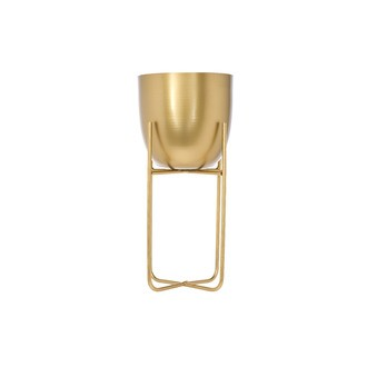 Cache pot métal doré avec support d15,5xh30cm