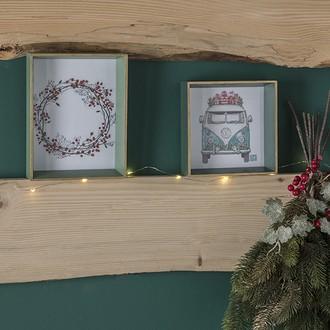 Cadre photo à poser 1 vue 14x14 bois vert et filet doré