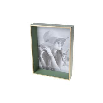 Cadre photo à poser 1 vue 13x18 bois vert et filet doré