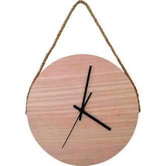 Horloge ronde en bois avec une lanière en corde 30cm