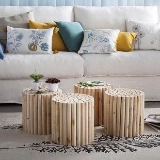 Table petits rondins naturel d30xh30cm