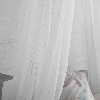 Voilage imprimé petits pois glitter doré swan blanc 140x240cm