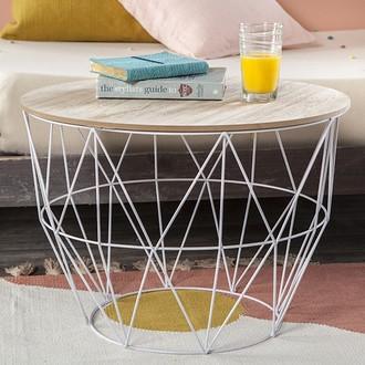 Table métal filaire plateau bois Atomic blanc d56xh40,5cm