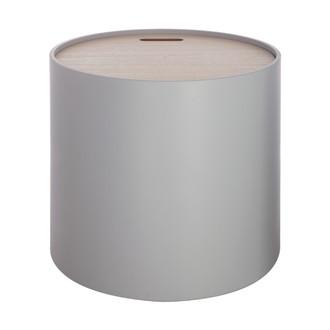 Table coffre plateau bois Yuri grise d37.5xh35cm