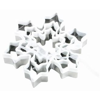 Lot de 3 découpoirs flocon de neige inox et PVC blanc, 6,9,13cm