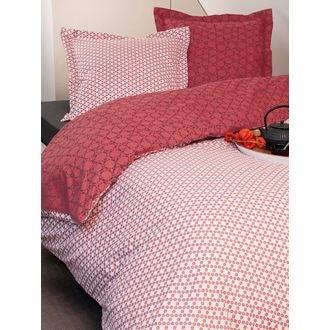 ZODIO - Taie d'oreiller carrée avec passepoil en coton imprimée Graphiflor cranberry 63x63cm