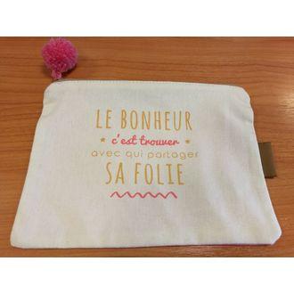 Pochette imprimée avec pompon en tissu beige/rose Bonheur 19x13.5cm