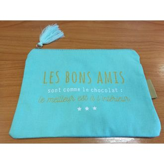 Pochette imprimée avec pompon en tissu vert Amis 19x13.5cm