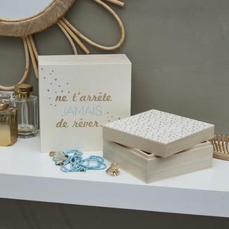 Set de 2 boites en bois imprimées rose Bonheur 17.8x17.8x8.5cm + 14.8x14.8x7cm